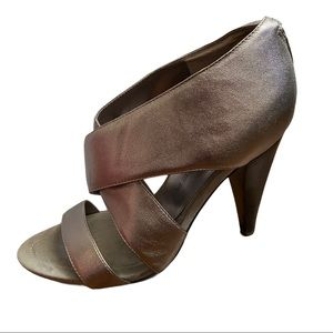 Marc Fisher Pewter Leather Wrap Sandals Size 8.5M